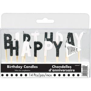 Chalkboard Dots Birthday Toothpick Candle Set 14pc