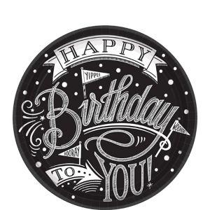 Chalkboard Dots Birthday Dessert Plates 18ct