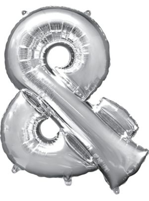 Giant Silver Ampersand Balloon
