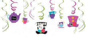 Mad Tea Party Swirl Decorations 12ct