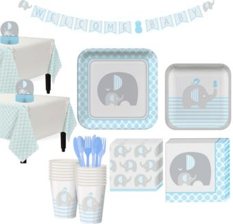Blue Baby Elephant Tableware Kit 32 Guests