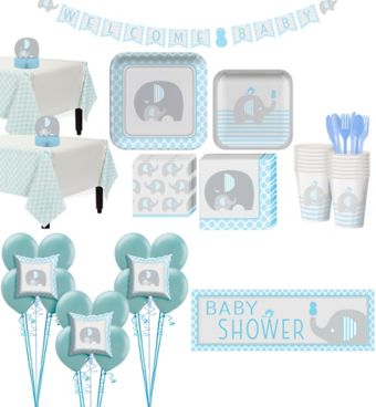Blue Baby Elephant Premium Baby Shower Kit for 32 Guests