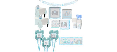 Blue Baby Elephant Baby Shower Premium Kit for 32 Guests