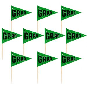 Green Graduation Flag Picks 36ct