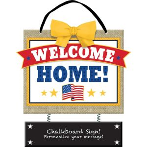 American Flag Welcome Home Chalkboard Sign