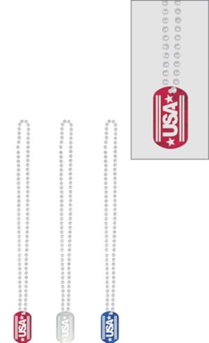 USA Dog Tag Bead Necklaces 3ct