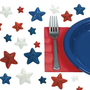Patriotic Red, White & Blue Star Table Scatter 32ct