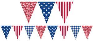 Burlap Patriotic Pennant Banner