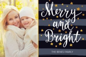Custom Stars & Stripes Merry & Bright Photo Card