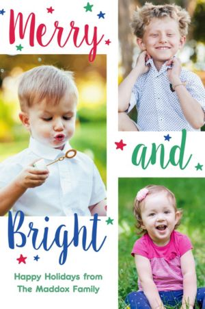 Custom Merry & Bright Collage Photo Card