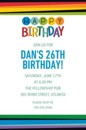 Custom Rainbow Happy Birthday Invitation
