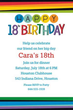 Custom Rainbow 18th Birthday Invitation