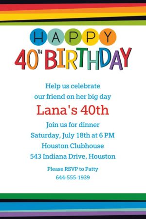 Custom Rainbow 40th Birthday Invitation