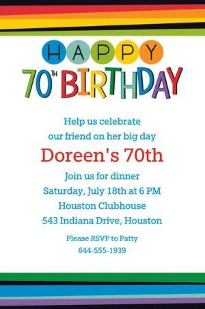 Custom Rainbow 70th Birthday Invitation