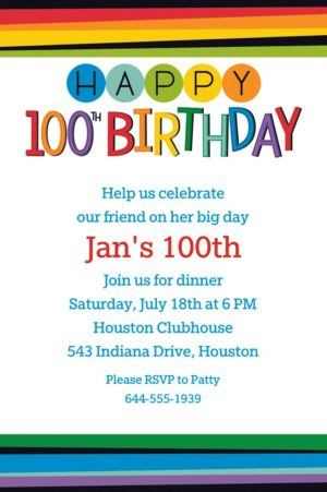 Custom Rainbow 100th Birthday Invitation
