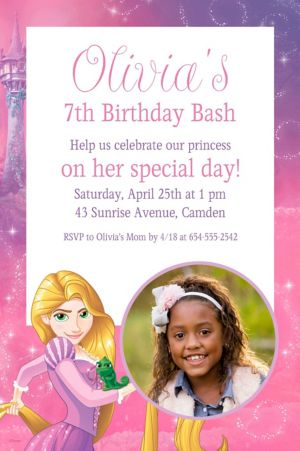 Custom Rapunzel Photo Invitation