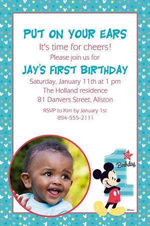 Custom Mickey's 1st Birthday Photo Invitation