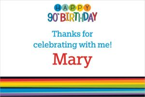 Custom Rainbow 90th Birthday Thank You Note