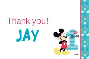 Custom Mickey's 1st Birthday Thank You Note