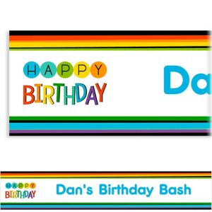 Custom Rainbow Happy Birthday Banner