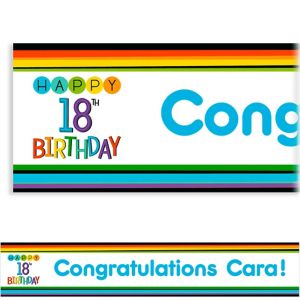 Custom Rainbow 18th Birthday Banner