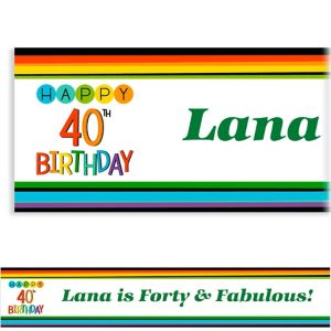 Custom Rainbow 40th Birthday Banner
