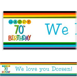 Custom Rainbow 70th Birthday Banner
