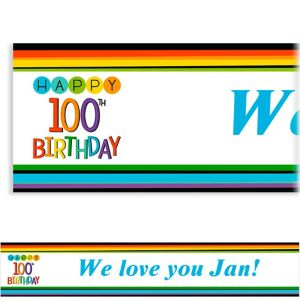 Custom Rainbow 100th Birthday Banner