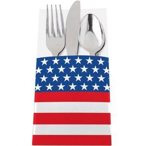 Patriotic American Flag Cutlery Holders 12ct