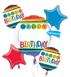 Rainbow Happy Birthday Balloon Bouquet 5pc