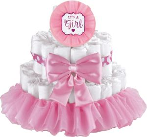Pink It's a Girl Baby Shower Diaper Cake Decorating Kit ...