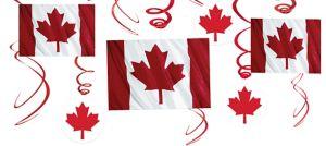 Canadian Flag Swirl Decorations 12ct