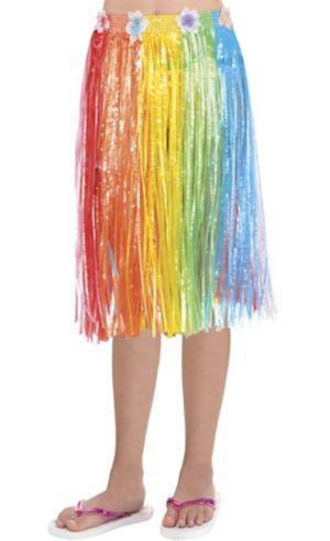 Child Long Rainbow Hula Skirt