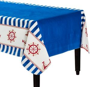 Striped Nautical Flannel-Backed Vinyl Tablecloth