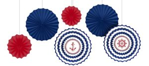 Striped Nautical Paper Fan Decorations 6ct