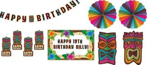 Tropical Tiki Birthday Room Decorating Kit 8pc
