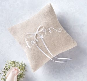 Love Burlap Ring Bearer Pillow
