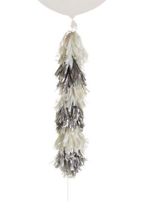 Silver & White Tassel Balloon Weight Tail