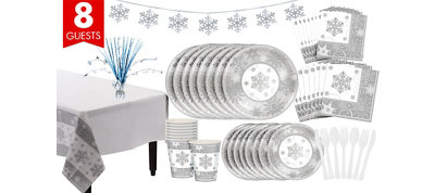 Metallic Sparkling Snowflake Tableware Kit for 8 Guests