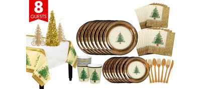 Victorian Christmas Tree Tableware Kit for 8 Guests
