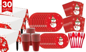 Very Merry Snowman Tableware Kit for 30 Guests