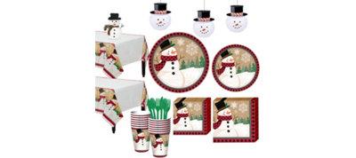 Winter Wonder Snowman Tableware Kit for 16 Guests