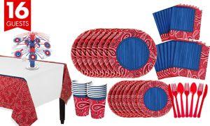 Bandana Western Tableware Kit for 16 Guests