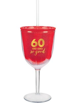 60 Never Looked So Good Wine Tumbler with Straw