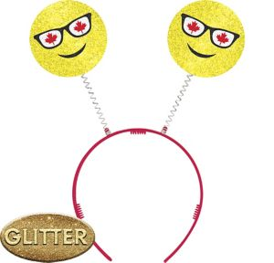 Glitter Canadian Maple Leaf Smiley Head Bopper