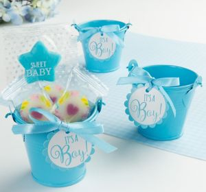 Blue Metal Pail Baby Shower Favor Kit 8ct