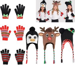 Child Christmas Hats & Gloves Accessory Kit