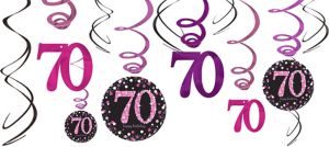 70th Birthday Swirl Decorations 12ct - Pink Sparkling Celebration