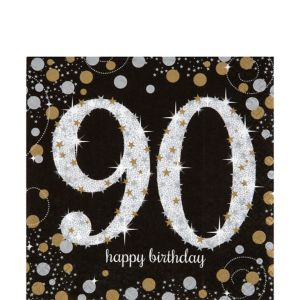 90th Birthday Lunch Napkins 16ct - Sparkling Celebration