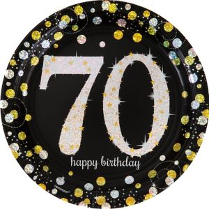 Prismatic 70th Birthday Lunch Plates 8ct - Sparkling Celebration